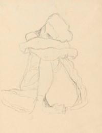 Sitzender Halbakt, die Arme auf das linke Knie gelegt, study for 'Die Jungfrau'